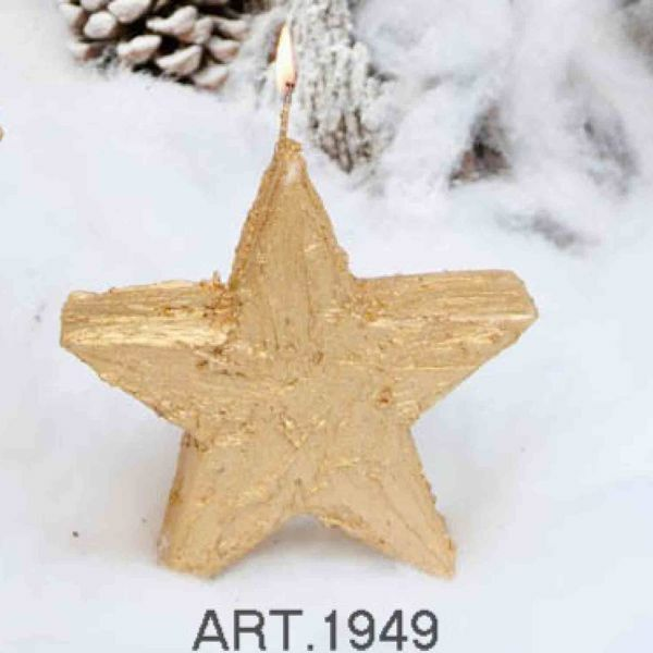 Picture of Christmas Candle Standing Star Gold