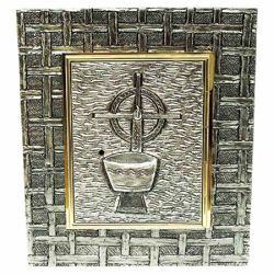 Picture of Wall mounted Tabernacle cm 35x40 (13,8x15,7 inch) Chalice and Candle brass for Church