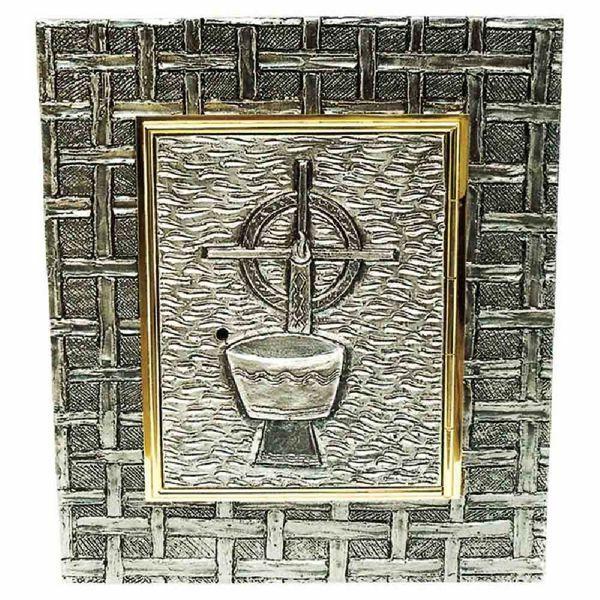 Immagine di Tabernacolo da incasso a muro cm 35x40 (13,8x15,7 inch) Calice e Candela in ottone Ciborio eucaristico da parete Chiesa