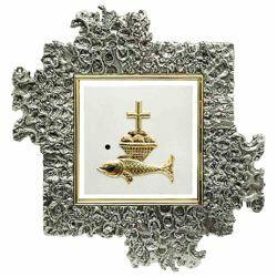 Immagine di Tabernacolo grande da incasso a muro cm 35x35 (13,8x13,8 inch) Pani e Pesci in ottone Ciborio eucaristico da parete Chiesa