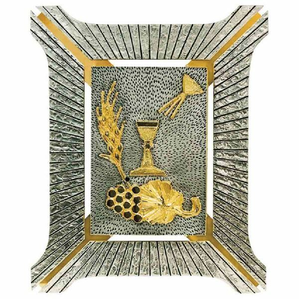 Picture of Wall mounted Tabernacle cm 35x40 (13,8x15,7 inch) religious Symbols bicolour brass for Church