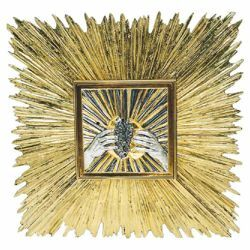 Picture of Wall mounted Tabernacle large size cm 60x60 (23,6x23,6 inch) Rays of Light bicolour brass for Church