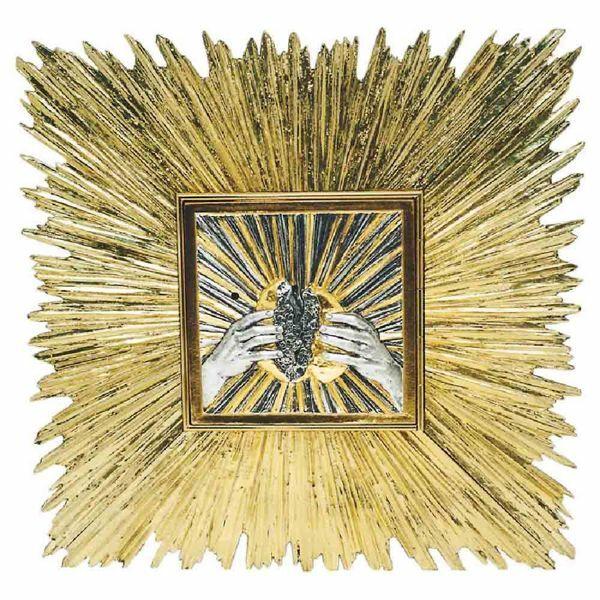 Immagine di Tabernacolo grande da incasso a muro cm 60x60 (23,6x23,6 inch) Raggi di Luce in ottone bicolore Ciborio eucaristico da parete Chiesa