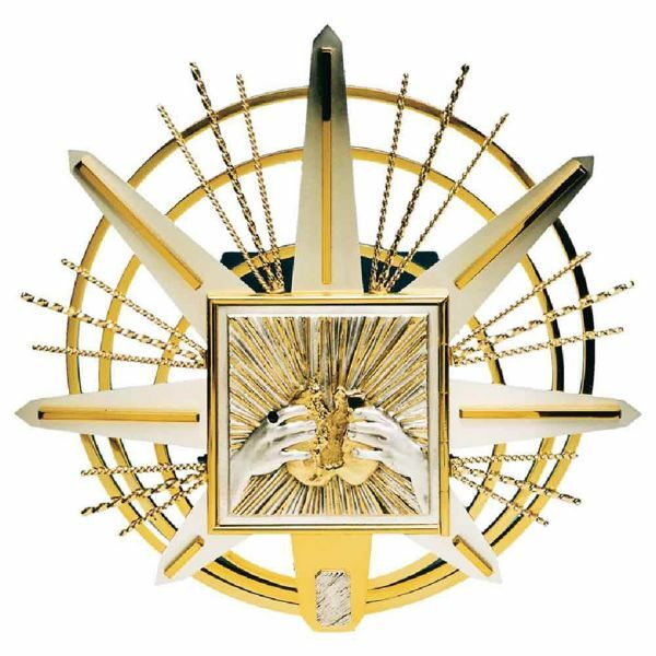 Picture of Wall mounted Tabernacle cm 50x50 (19,7x19,7 inch) Cross and Rays of Light bicolour brass for Church