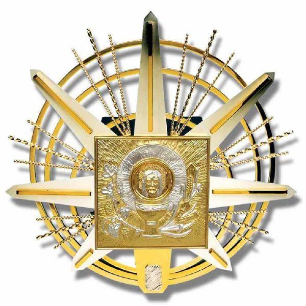 Immagine di Tabernacolo grande da incasso a muro cm 67x67 (26,4x26,4 inch) con espositore Cristo Uva e Spighe in ottone bicolore Ciborio eucaristico da parete Chiesa