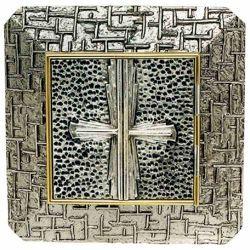 Immagine di Tabernacolo grande da incasso a muro cm 35x35 (13,8x13,8 inch) Croce in ottone Ciborio eucaristico da parete Chiesa