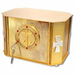 Picture of Altar Tabernacle cm 32x21x23 (12,6x8,3x9,1 inch) with exposition door Cross brass for Church