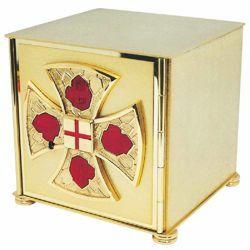 Immagine di Tabernacolo piccolo da Mensa cm 18x18x18 (7,1x7,1x7,1 inch) con smalti rossi in ottone Ciborio eucaristico da Altare Chiesa