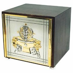 Picture of Altar Tabernacle cm 25x23x23 (9,8x9,1x9,1 inch) Grapes and Ears of Corn wood and brass for Church