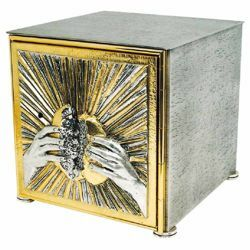 Picture of Altar Tabernacle large size cm 27x27x28 (10,6x10,6x11,0 inch) Hands breaking the Bread bicolour brass for Church