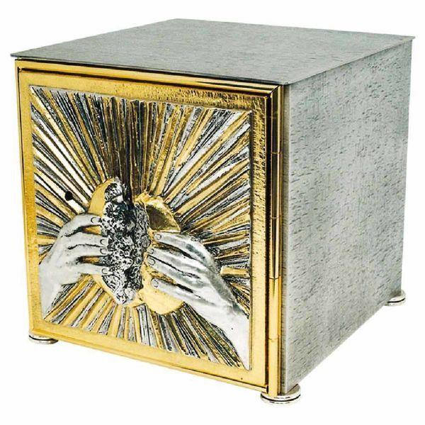 Immagine di Tabernacolo grande da Mensa cm 27x27x28 (10,6x10,6x11,0 inch) Mani spezzano il Pane in ottone bicolore Ciborio eucaristico da Altare Chiesa