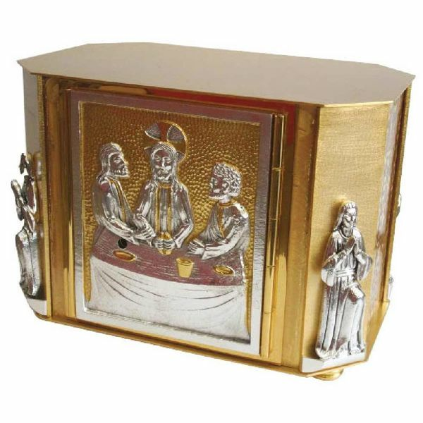 Picture of Altar Tabernacle cm 32x21x23 (12,6x8,3x9,1 inch) Supper at Emmaus bicolour brass for Church