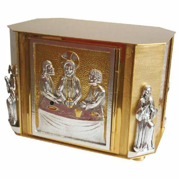 Immagine di Tabernacolo da Mensa cm 32x21x23 (12,6x8,3x9,1 inch) Cena di Emmaus in ottone bicolore Ciborio eucaristico da Altare Chiesa