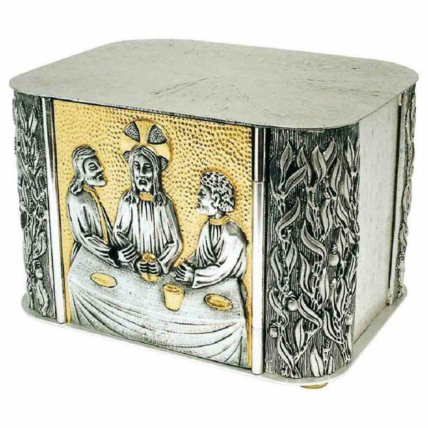 Immagine di Tabernacolo da Mensa cm 27x18x19 (10,6x7,1x7,5 inch) con espositore Cena di Emmaus in ottone bicolore Ciborio eucaristico da Altare Chiesa