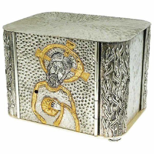 Imagen de Sagrario de mesa cm 31x22x22 (12,2x8,7x8,7 inch) Rostro de Cristo de latón bicolor para Altar Iglesia