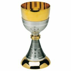 Picture of Liturgical Chalice H. cm 18 (7,1 inch) gold and silver finish hammered brass for Holy Mass Sacramental Wine