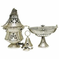 Picture of Thurible and incense Boat 4 chains H. cm 21 (8,3 inch) IHS and Pax symbols brass liturgical Censer for Churches