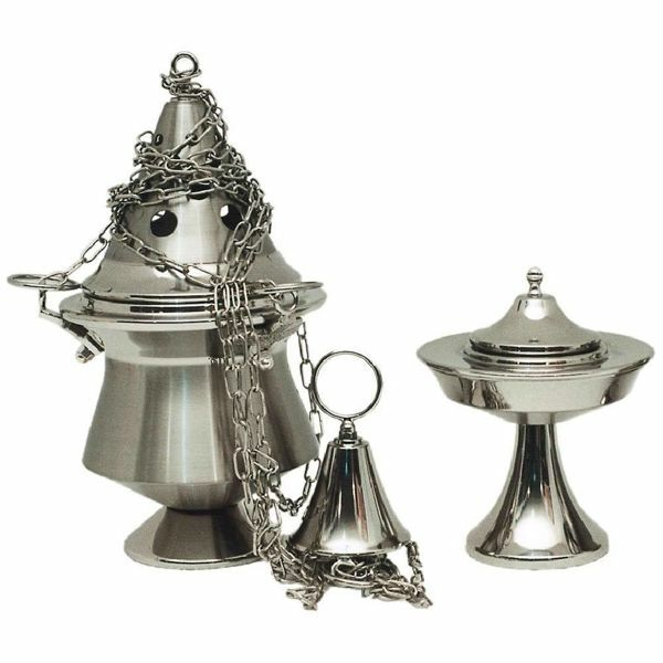 Picture of Thurible and incense Boat 4 chains H. cm 21 (8,3 inch) satin brass liturgical Censer for Churches