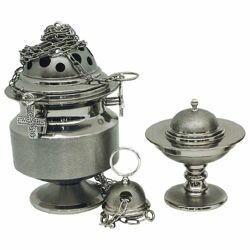 Picture of Thurible and incense Boat 4 chains H. cm 20 (7,9 inch) knurled brass liturgical Censer for Churches