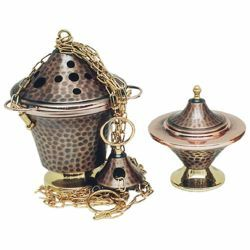 Picture of Thurible and incense Boat 4 chains H. cm 17 (6,7 inch) hammered brass liturgical Censer for Churches