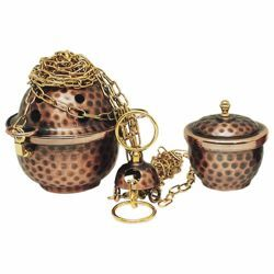 Picture of Thurible and incense Boat 4 chains H. cm 11 (4,3 inch) for small communities brass liturgical Censer for Churches