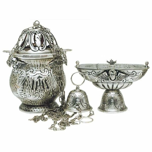 Picture of Thurible and incense Boat 4 chains H. cm 21 (8,3 inch) Angels brass liturgical Censer for Churches