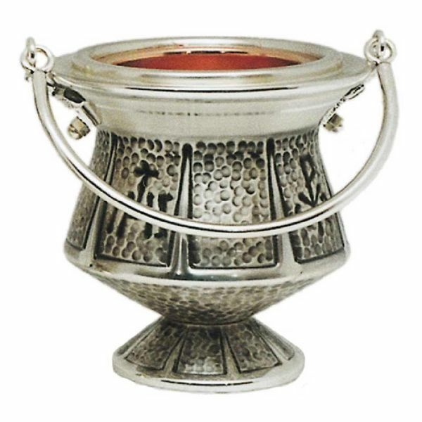 Picture of Holy Water Vat H. cm 13 (5,1 inch) IHS and Pax symbols brass Liturgical Aspersorium Bucket Pot