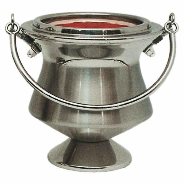Picture of Holy Water Vat H. cm 13 (5,1 inch) satin brass Liturgical Aspersorium Bucket Pot