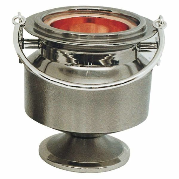 Picture of Holy Water Vat H. cm 15 (5,9 inch) brass Liturgical Aspersorium Bucket Pot
