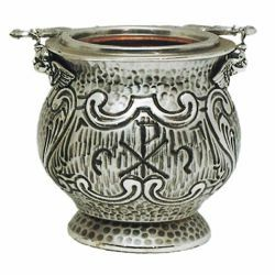 Picture of Holy Water Vat H. cm 12,5 (4,9 inch) decorations brass Liturgical Aspersorium Bucket Pot