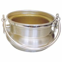 Picture of Holy Water Vat H. cm 8 (3,1 inch) Crosses brass Liturgical Aspersorium Bucket Pot