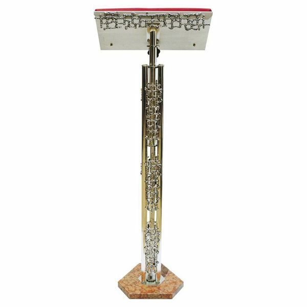 Picture of Standing Lectern for Churches adjustable height H. cm 110 (43,3 inch) modern style with grids brass Missal Bible Column Stand