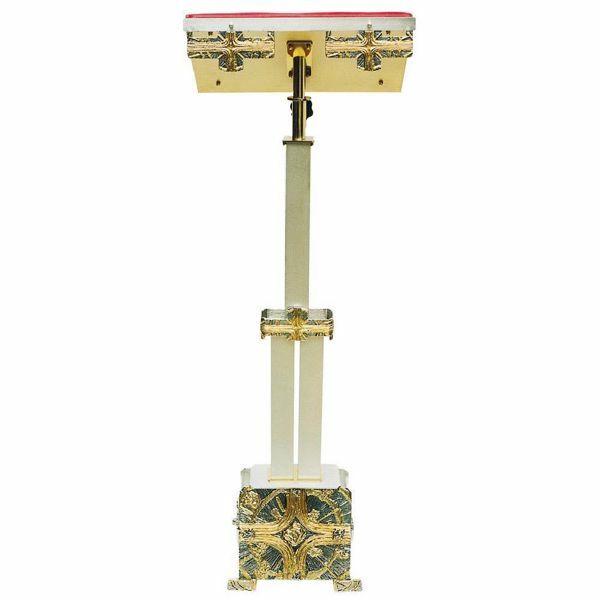 Imagen de Atril de pie Iglesias columna regulable en altura H. cm 110 (43,3 inch) Cruz y Rayos de Luz de latón bicolor para Misal Biblia Textos Sagrados