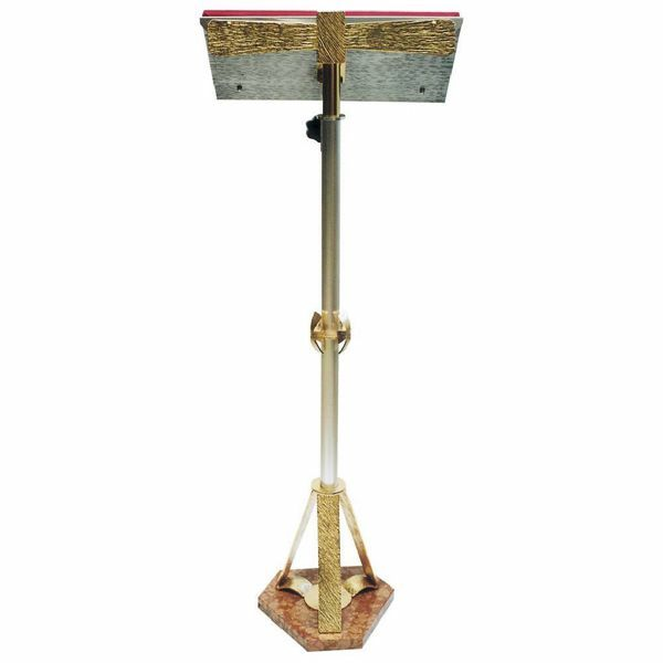 Picture of Standing Lectern for Churches adjustable height H. cm 110 (43,3 inch) on red marble base bicolour brass Missal Bible Column Stand