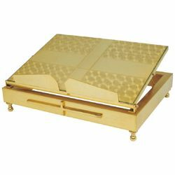 Picture of Altar Lectern for Churches adjustable height cm 35x27 (13,8x10,6 inch) gold plated brass Missal Bible Stand