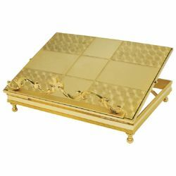 Picture of Altar Lectern for Churches adjustable height cm 34x27 (13,4x10,6 inch) gold plated brass Missal Bible Stand