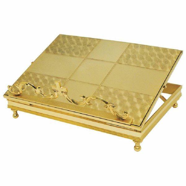 Imagen de Atril de Altar Iglesia regulable en altura cm 34x27 (13,4x10,6 inch) de latón dorado de mesa para Misal Biblia Textos Sagrados