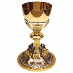 Picture of Tall Liturgical Chalice H. cm 23 (9,1 inch) Last Supper bicolour brass for Holy Mass Sacramental Wine