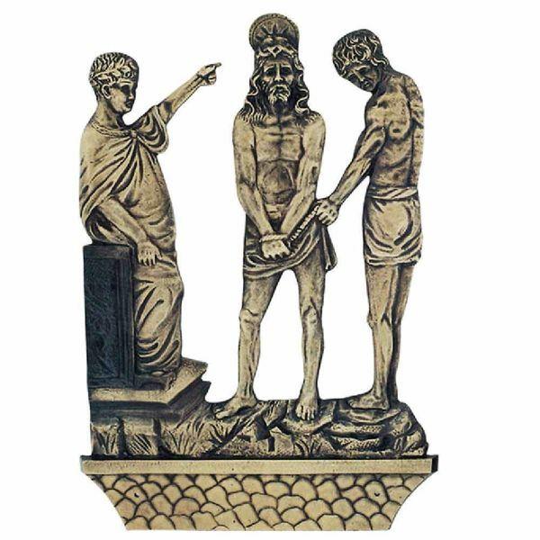 Immagine di Set Via Crucis completa cm 27x40 (10,6x15,7 inch) 15 Stazioni in ottone Pannelli Quadri Via Dolorosa