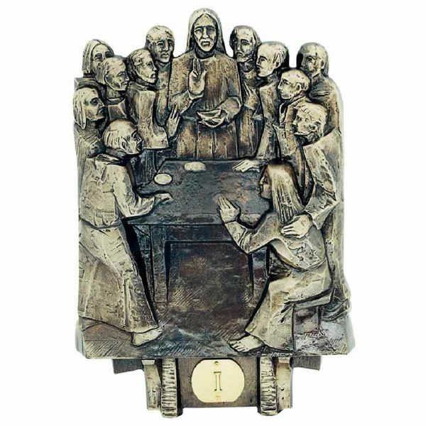 Immagine di Set Via Crucis media completa nuova liturgia cm 24x30 (9,4x11,8 inch) 14 Stazioni in ottone Pannelli Quadri Via Dolorosa