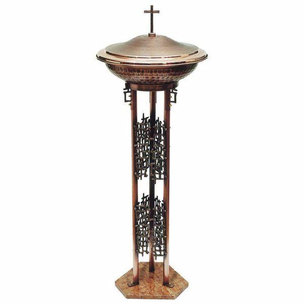 Imagen de Pila Bautismal de pie portátil H. cm 120 (47,2 inch) con base de mármol rojo Cruz y Decoraciones estilizadas de latón Fuente Iglesia para Bautismo