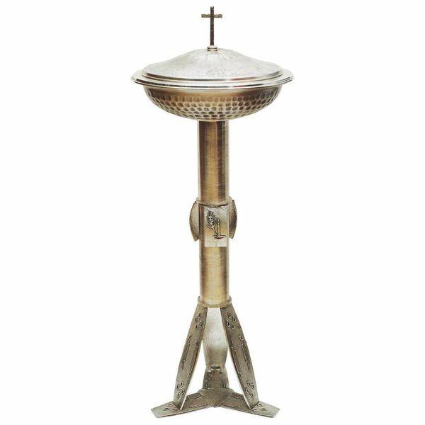 Imagen de Pila Bautismal de pie portátil H. cm 120 (47,2 inch) con esmaltes de latón Fuente columna alta de Iglesia para Bautismo por ablución