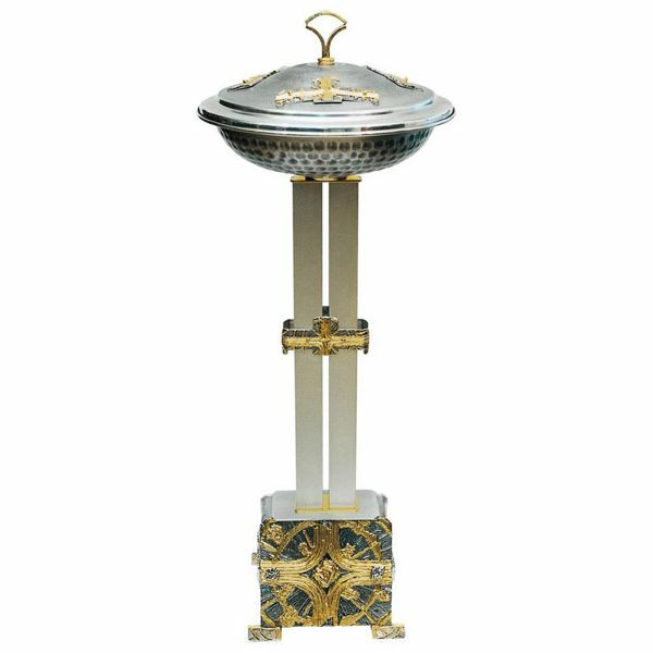 Picture of Portable Baptismal Font for Churches H. cm 120 (47,2 inch) Crosses bicolour brass Column Standing Basin Bowl for Baptism by affusion