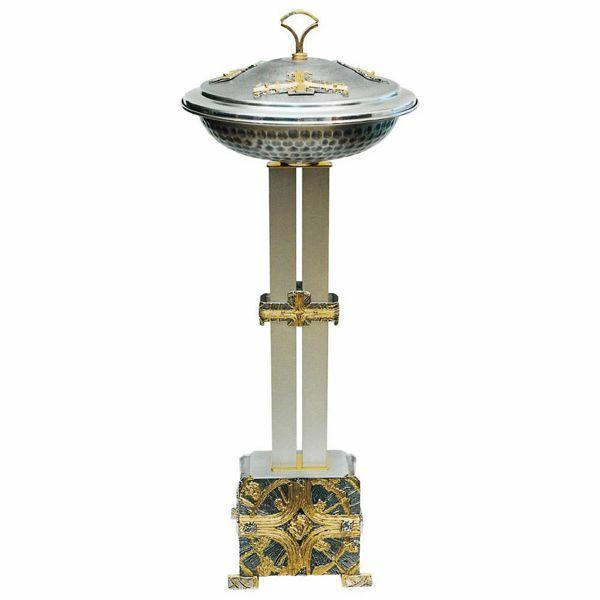 Imagen de Pila Bautismal de pie portátil H. cm 120 (47,2 inch) Cruces de latón bicolor Fuente columna alta de Iglesia para Bautismo por ablución