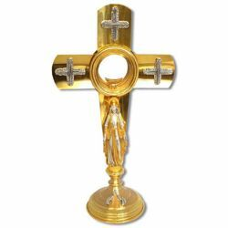 Picture of Church Monstrance with lunette H. cm 50 (19,7 inch) Crosses bicolour brass Ostensorium for Holy Host Exposition