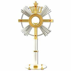 Picture of Church Monstrance with lunette H. cm 62 (24,4 inch) with red stones IHS symbol bicolour brass Ostensorium for Holy Host Exposition