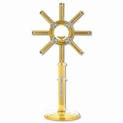 Picture of Church Monstrance with lunette H. cm 60 (23,6 inch) central Cross bicolour brass Ostensorium for Holy Host Exposition