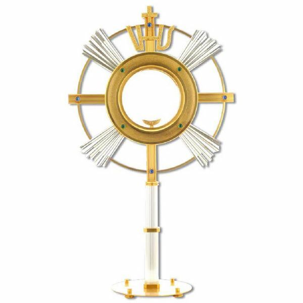 Picture of Church Monstrance with lunette H. cm 70 (27,6 inch) with blue stones IHS symbol bicolour brass Ostensorium for Holy Host Exposition