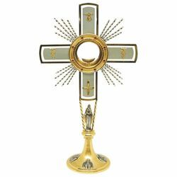 Picture of Church Monstrance with lunette H. cm 60 (23,6 inch) Dove bicolour brass Ostensorium for Holy Host Exposition