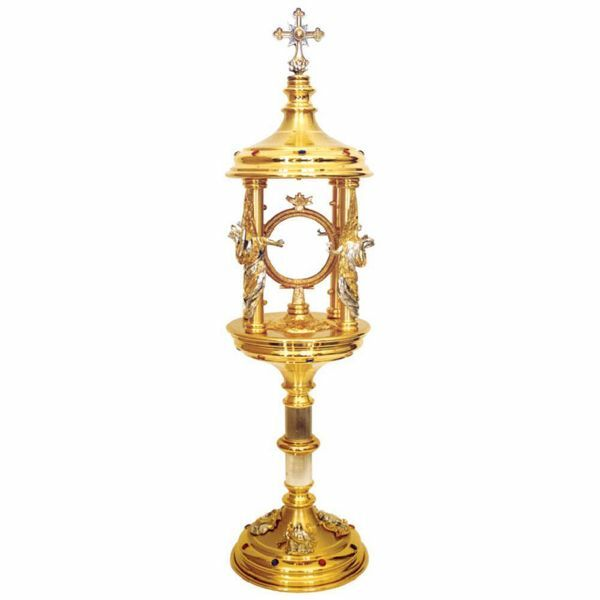 Picture of Ambrosian Monstrance with lunette H. cm 62 (24,4 inch) with removable shrine bicolour brass Ostensorium for Holy Host Exposition